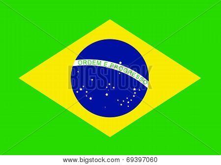 brazil flag over green background vector illustration