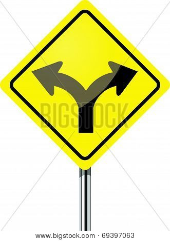 Fork in the road sign, vector illustration