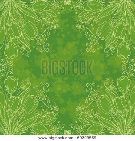 Floral pattern, outline tulips