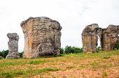 stock photo of stonehenge  - Mo Hin khao Stonehenge of Thailand at Chaiyaphum province Thailand - JPG