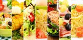 stock photo of buffet  - Collage of delicious food close - JPG