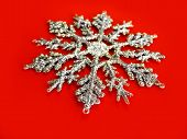 Snowflake On Red poster