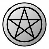 foto of pentacle  - Pentagram button on white background - JPG