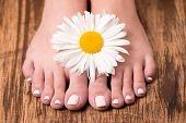 foto of pedicure  - Closeup photo of a female feet at spa salon on pedicure procedure - JPG