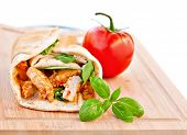 picture of sandwich wrap  - Wrap sandwich Moroccan style with couscous chicken tomatoes and basil - JPG
