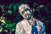pic of walking dead  - Man zombie walking dead outdoors - JPG