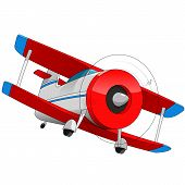 foto of biplane  - Cartoon illustration of biplane red aircraft isolated - JPG