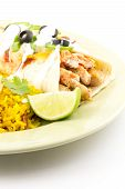 image of enchiladas  - Heavenly Enchilada with all the fixings begging to be eaten