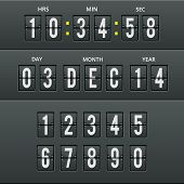 foto of countdown  - Airport characters and numbers in vector calendar and clock with numbers set - JPG