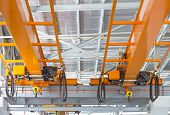 stock photo of girder  - Factory overhead crane installation on rail  can movement to every where in factory area - JPG