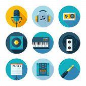 Постер, плакат: Set of flat music and sound icons