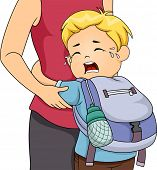 pic of crying boy  - Illustration of a Little Boy Crying Out Loud Whie Clinging to His Mom - JPG