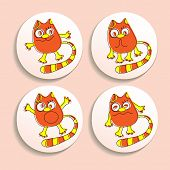 Постер, плакат: Set of badges with the emotional cats