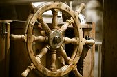 stock photo of ship steering wheel  - Yachting - JPG