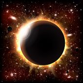 stock photo of outer  - An outer space background with an eclipse - JPG
