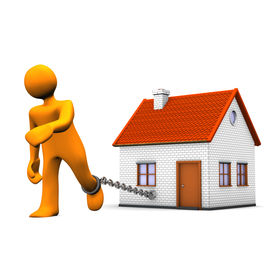 foto of slave-house  - Orange cartoon character with iron chain and house - JPG