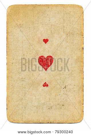 Antique Used Playing Card Ace Of Hearts Paper Background With Three Symbols