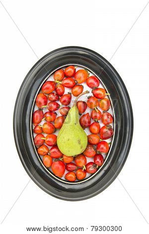 Red Medical Rose Hips Fruits And One Pear In Oval Frame
