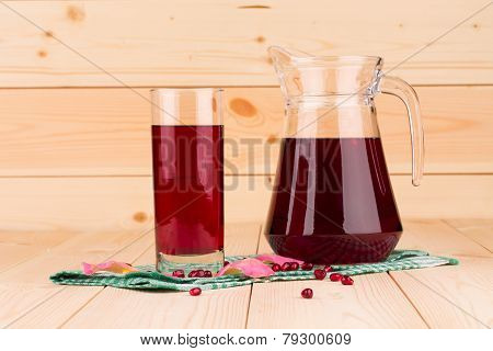 Pitcher of pomegranate juice