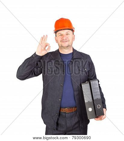 Worker showing okey sign.