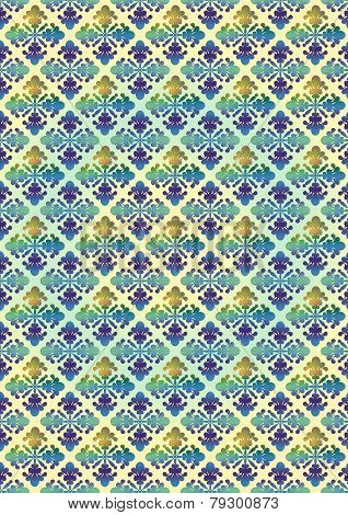 Background with blue yellow floral pattern