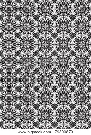 Background with circles of beads coated black and white curved forms