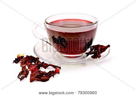 Tea hibiscus in glass cup