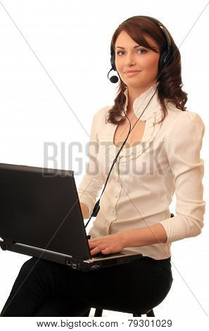 Girl with a notebook in headsets
