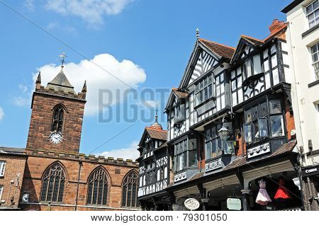 Tudor buildings and church, Chester.