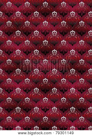 Vinous background with a classic black and red floral pattern
