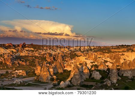 View Of Sunset Cappadocia Valley In Spring