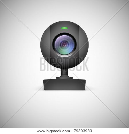 Realistic white webcam icon.
