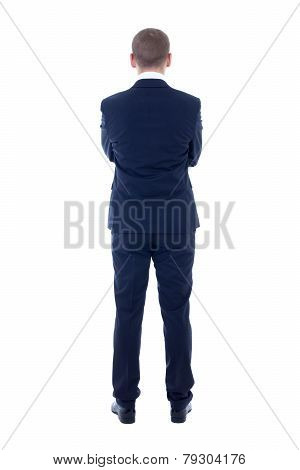 Back View Of Young Man In Business Suit Isolated On White