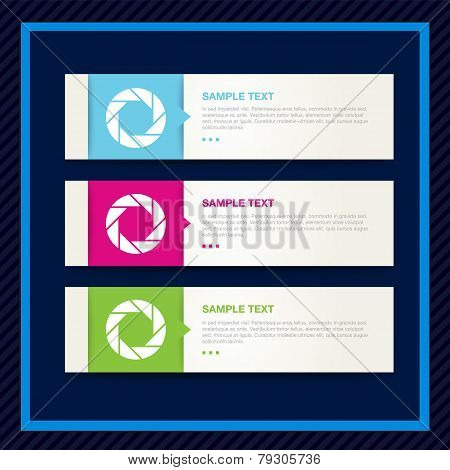 Symbol of camera shutter. Text template design.