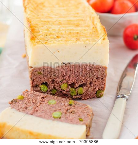 Meatloaf Topped With Cheesy Mashed Potato