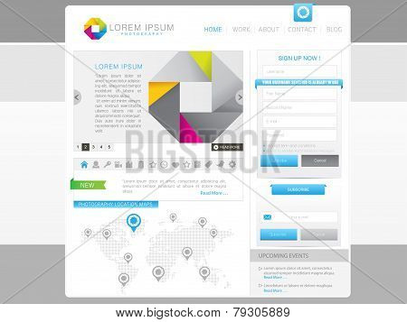 Photography vector website template for business,