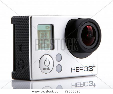 Aytos, Bulgaria - Januari 04, 2015: Gopro Hero3+ Black Edition Isolated On White Background. Gopro I