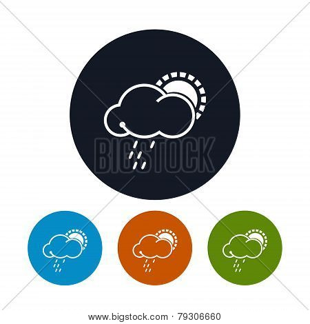 Icon sun with rain ,   vector illustration