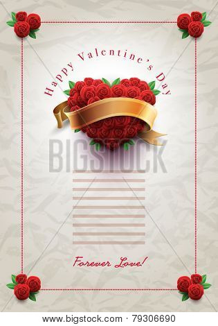 Vector retro Valentine's Day greeting design template with roses and wrinkled paper background. Elements are layered separately in vector file.