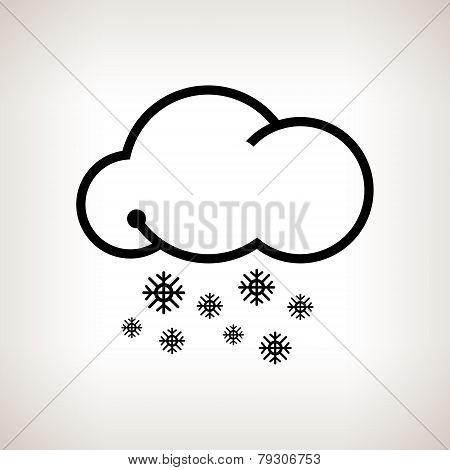 Silhouette snowfall , vector illustration