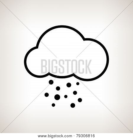Silhouette cloud with hail , vector illustration
