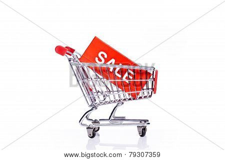shopping cart with sale icon i