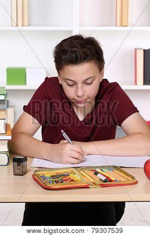 Child Writing Homework At School