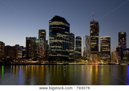 city skyline with river