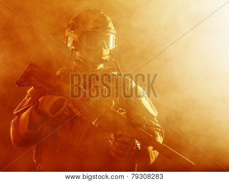 Special forces soldier in the fire