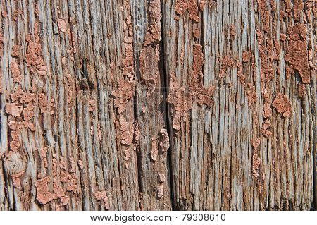 Old Wooden Planks With Cracked Paint Reddish