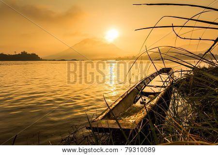 Boats On River. Sunrise Landscape.