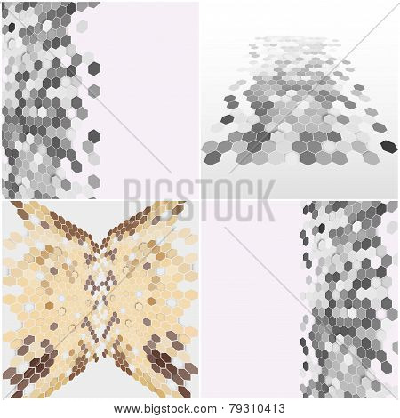 Geometric backgrounds set, abstract hexagonal patterns vector