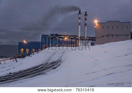 Power Station In Barentsburg - Russian Village On Spitsbergen