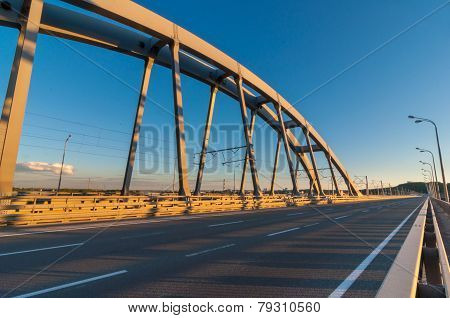 metal bridge for cars and trains